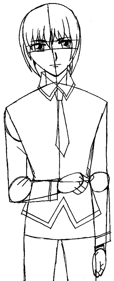 Step 8 : Drawing Yuki Sohma from Fruits Basket Easy Steps Lesson