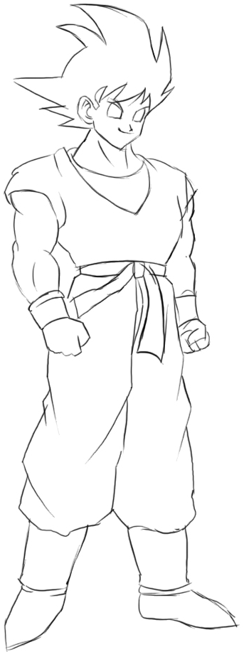 Step 8 : Drawing Goku from Dragon Ball Z Easy Steps Lesson