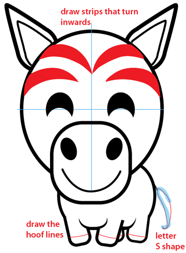 Step 8 : Drawing Cartoon Zebra Easy Steps Lesson