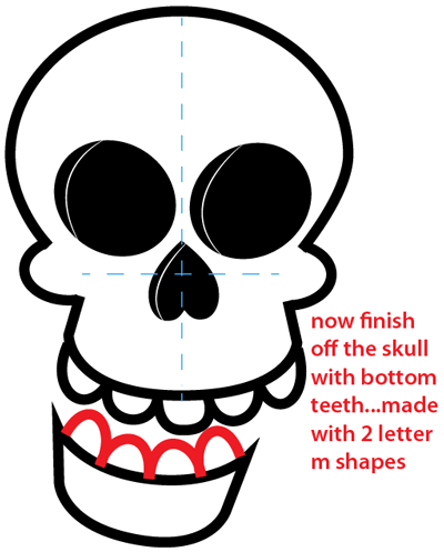 Step 8 : Drawing a Cartoon Skull Easy Steps Lesson