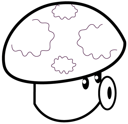 Step 9 : Drawing Puff-shroom from Plants vs Zombies Bat Easy Steps Lesson