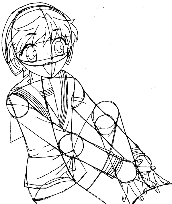 Step 9 : Drawing Momiji Sohma from Fruits Basket Easy Steps Lesson