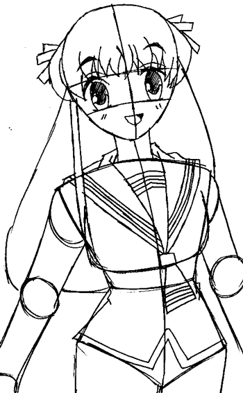 Step 9 : Drawing Tohru Honda from Fruits Basket Easy Steps Lesson