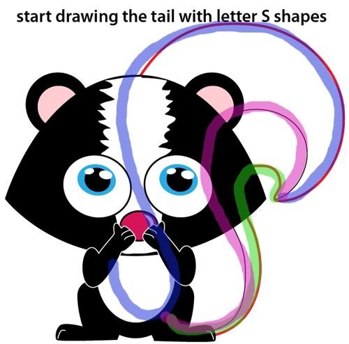 Step 9 : Drawing Cartoon Skunk Easy Steps Lesson