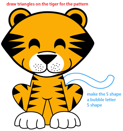 Step 9 : Drawing Cartoon Baby Tiger Easy Steps Lesson