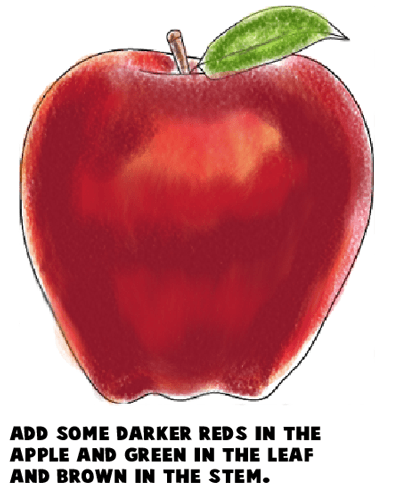Step 9 : Drawing an Apple Easy Steps Lesson