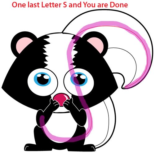 Step 10 : Drawing Cartoon Skunk Easy Steps Lesson