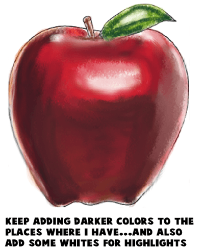 Step 10 : Drawing an Apple Easy Steps Lesson