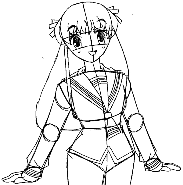 Step 10 : Drawing Tohru Honda from Fruits Basket Easy Steps Lesson