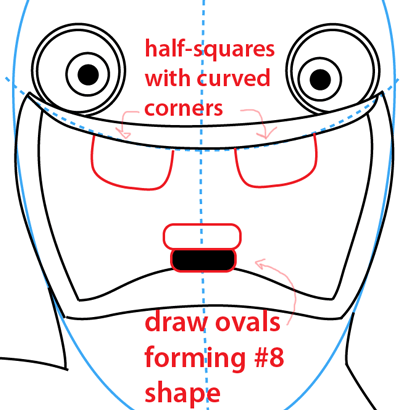 Step 11 : Drawing Rabbid from the game Rayman Raving Rabbids Easy Steps Lesson
