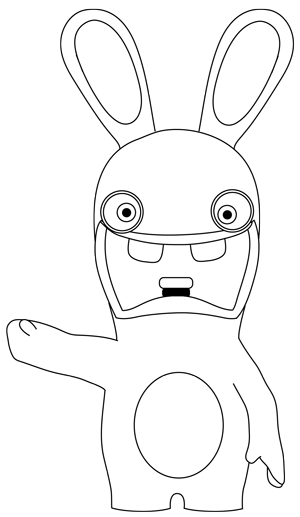 How to Draw Rabbid from the game Rayman Raving Rabbids with Simple ...