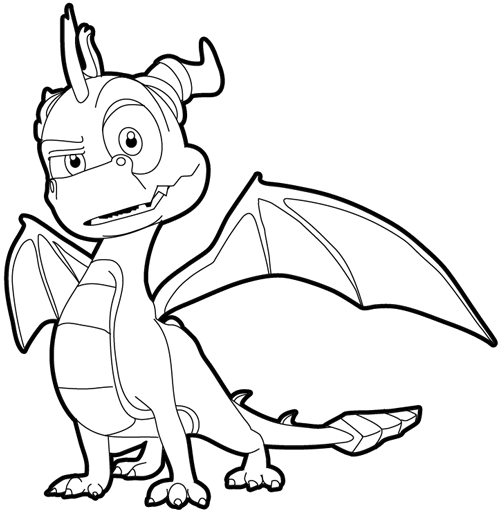 Step 17 : Drawing Spyro from Spyro the Dragon Easy Steps Lesson