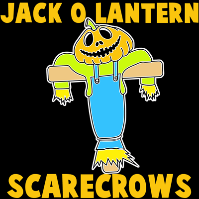 How to draw Scarecrows with easy step by step drawing tutorial