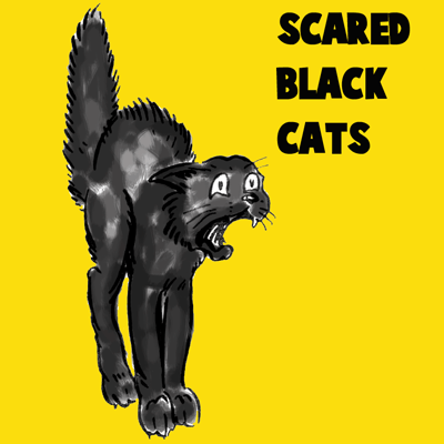 How to draw a Scared Black Cat with easy step by step drawing tutorial