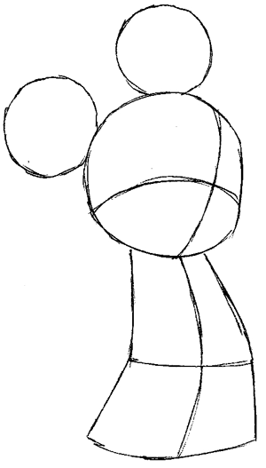 Step 4 : Drawing King Mickey from Kingdom Hearts Easy Steps Lesson