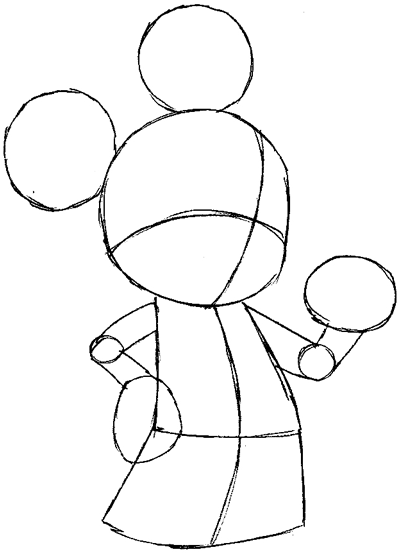 Step 5 : Drawing King Mickey from Kingdom Hearts Easy Steps Lesson