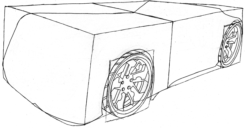 Step 5 : Drawing the Reverb from Hot Wheels' Battle Force 5 Easy Steps Lesson