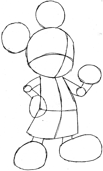 Step 6 : Drawing King Mickey from Kingdom Hearts Easy Steps Lesson