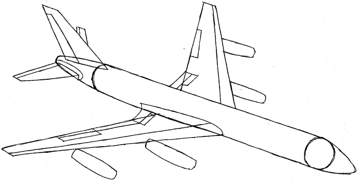 how to draw an airplane wing