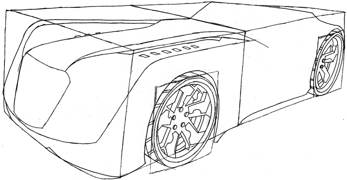 Step 7 : Drawing the Reverb from Hot Wheels' Battle Force 5 Easy Steps Lesson