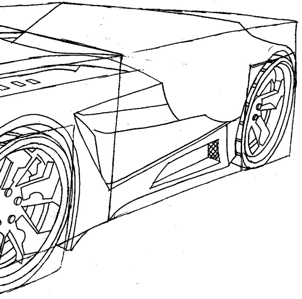 Step 9 : Drawing the Reverb from Hot Wheels' Battle Force 5 Easy Steps Lesson