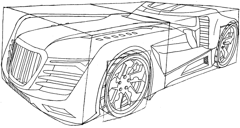 Step 10 : Drawing the Reverb from Hot Wheels' Battle Force 5 Easy Steps Lesson