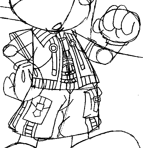 Step 12 : Drawing King Mickey from Kingdom Hearts Easy Steps Lesson