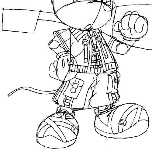 Step 13 : Drawing King Mickey from Kingdom Hearts Easy Steps Lesson