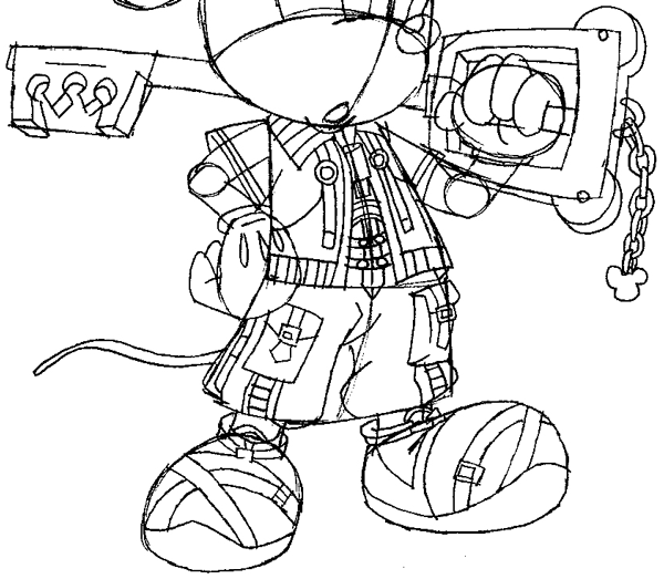 Step 14 : Drawing King Mickey from Kingdom Hearts Easy Steps Lesson