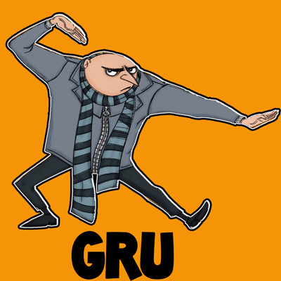 How to draw Gru from Despicable Me with easy step by step drawing tutorial