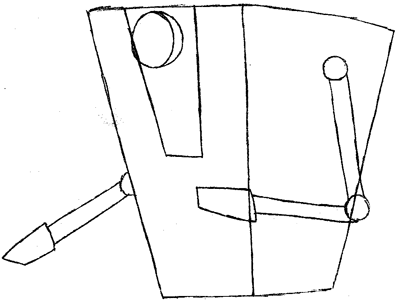 Step 3 : Drawing a Claptrap from the game Borderlands Easy Steps Lesson