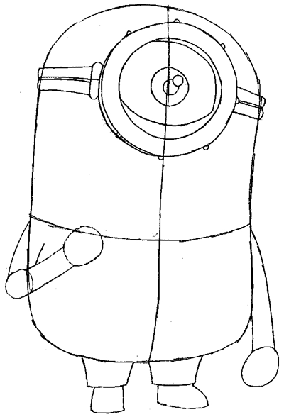 Step 5 : Drawing Tim the Minion from Despicable Me Easy Steps Lesson