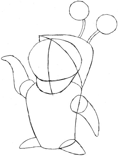 Step 6 : Drawing Boo from Monsters Inc. Easy Steps Lesson