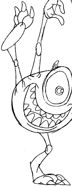 Step 8 : Drawing Mike from Monsters Inc. Easy Steps Lesson