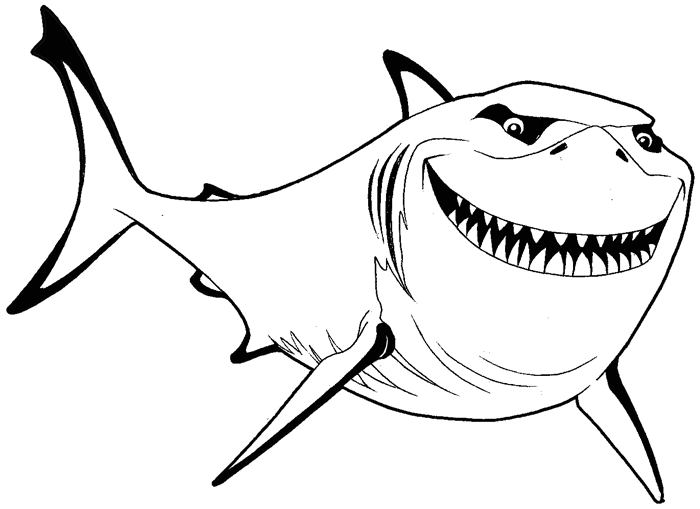 How to Draw Bruce from Finding Nemo with Simple Steps Lesson - How ...