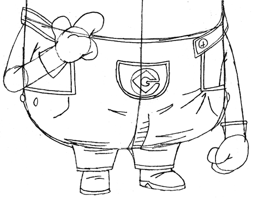 Step 8 : Drawing Tim the Minion from Despicable Me Easy Steps Lesson