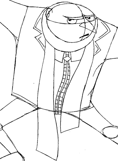 Step 8 : Drawing Gru from Despicable Me Easy Steps Lesson