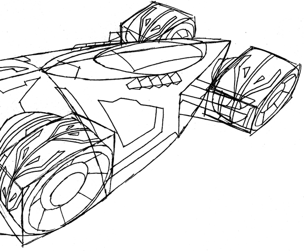 Step 9 : Drawing the Saber from Hot Wheels Battle Force 5 Easy Steps Lesson