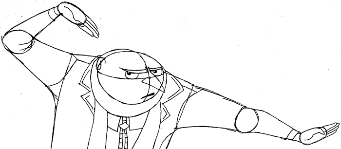 Step 9 : Drawing Gru from Despicable Me Easy Steps Lesson