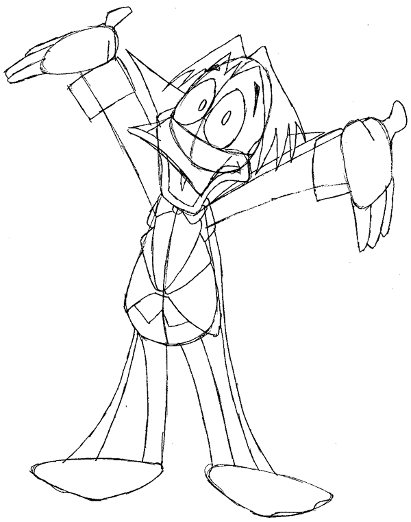 Step 10 : Drawing Duckula from Count Duckula Me Easy Steps Lesson
