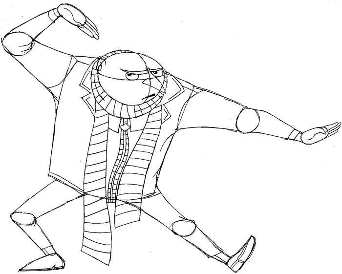 Step 11: Drawing Gru from Despicable Me Easy Steps Lesson