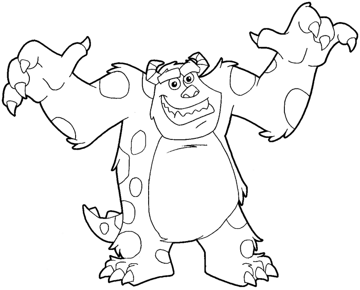 Line Drawing Monster : How to draw sulley from monsters inc with easy step by