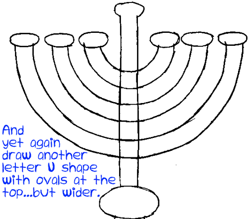 Step 4 : Drawing Hanukkah Lamp Easy Steps Lesson