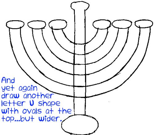 Step 4 : Drawing Hanukkah Lamp Easy Steps Lesson