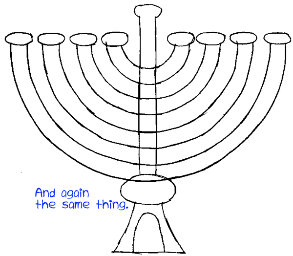 Step 5 : Drawing Hanukkah Lamp Easy Steps Lesson