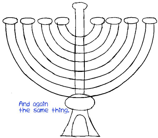 Step 5 : Drawing Hanukkah Lamp Easy Steps Lesson
