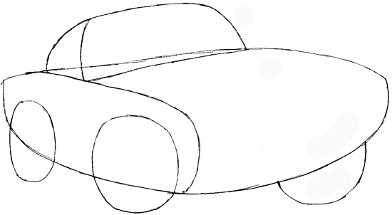 Step 3 : Drawing Finn Mc Missile from Pixar's Cars Easy Steps Lesson