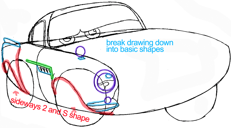 Step 5 : Drawing Finn Mc Missile from Pixar's Cars Easy Steps Lesson