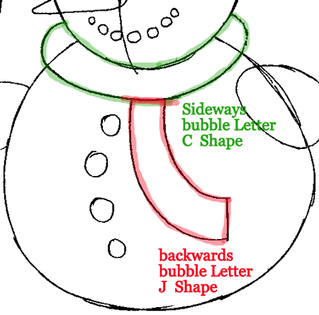 Step 7 : Drawing Snowman Easy Steps Lesson