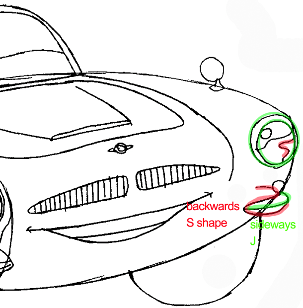 Step 7 : Drawing Finn Mc Missile from Pixar's Cars Easy Steps Lesson